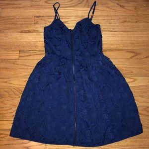 NWOT Francesca's Blue Crochet Zip-Front Dress